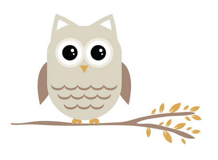 Cute owl sitting on a branch Illustration