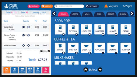 Restaurant Point of Sale Software System with User Interface