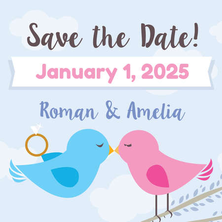 Save the Date - Love Birds Theme vector ilustration