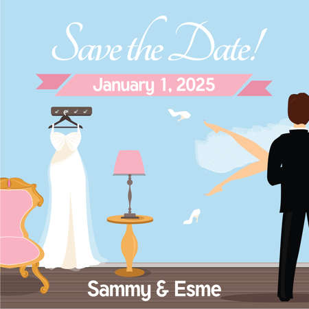 Save the Date - Wedding Night Theme vector ilustration Illustration