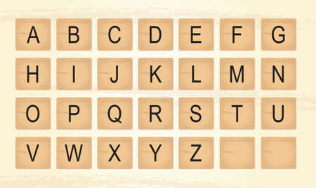 Wooden Tiles Alphabet Letters vector ilustration Ilustracja