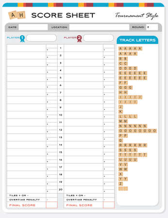 Wooden Letters Alphabet Game Score Sheet