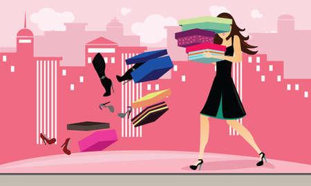 Rompiendo cajas de zapatos en una juerga de compras Ilustración de vector