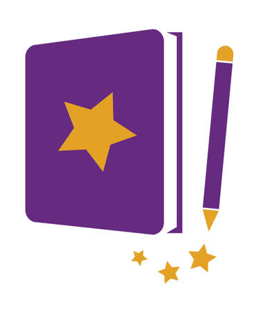 Star Book with Pencil icon Illustration