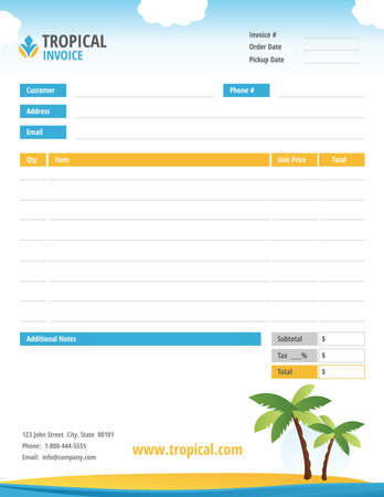 Tropical Theme Blank Invoice vector illustration Çizim