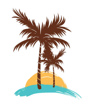 Silhouette Tropical Palm Tree vector illustration Çizim