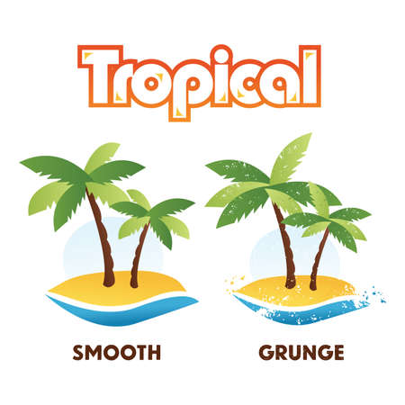 Tropical Palm Tree Island Isolated vector illustration