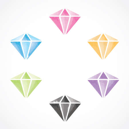 Watercolour Diamonds set  vector illustration