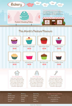 Bakery Website Template vector illustration