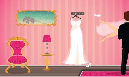 Wedding Night in a Hotel Room vector illustration