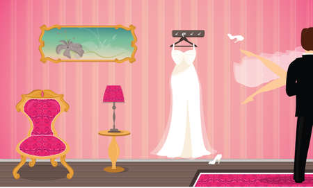 Wedding Night in a Hotel Room vector illustration