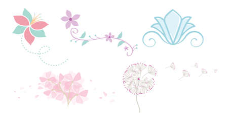 Whimsical Flowers with Blowing Petals vector illustration