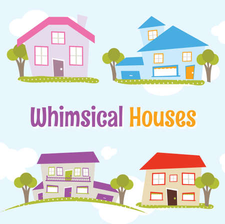 Whimsical Houses set vector illustration