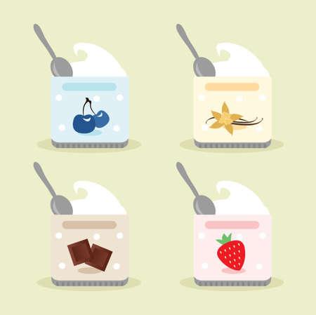 Yogurt Cups set  vector illustration