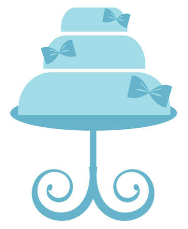 Blue Cake Stand vector illustration Çizim