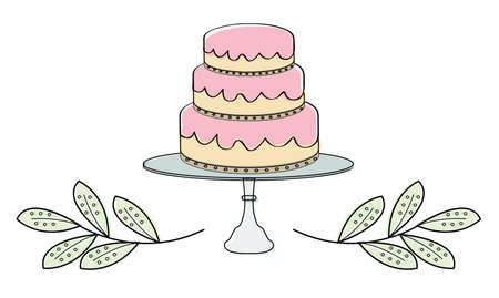 Cake Tiers with Leaf Border vector illustration Çizim