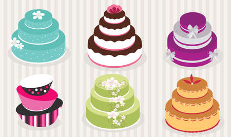 Elegant Wedding Cakes vector illustration Çizim