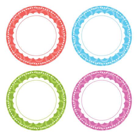 Ilustración de vector de etiquetas de círculo caprichoso