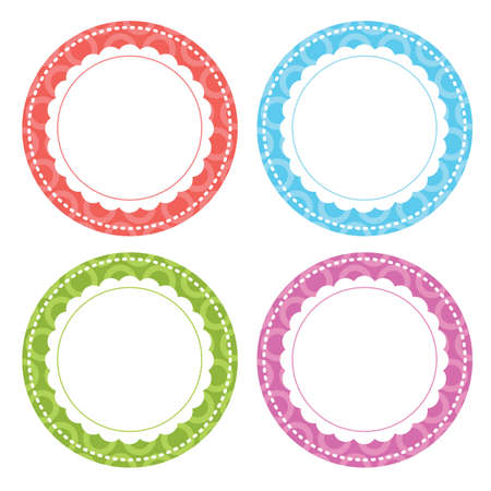 Whimsical Circle Labels vector illustration