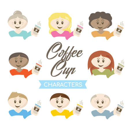 Coffee Cup Characters vector illustration