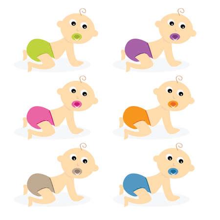 Crawling Baby set vector illustration Illustration