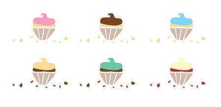 Flavoured Cupcakes with Crumbs set vector illustration