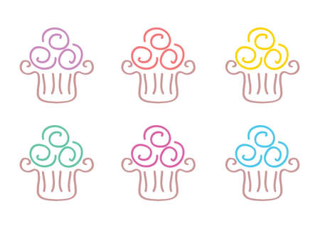 Cupcake Doodle Icons set vector illustration