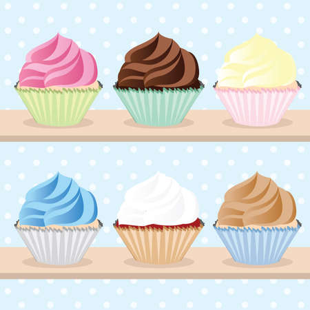 Cupcakes on Shelves set vector illustration