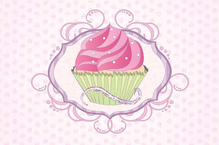 Feminine Cupcake Shield vector illustration