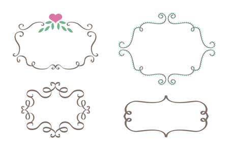 Luxury Curly Frames set vector illustration Çizim