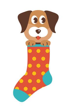Dog in a Sock vector illustration Vektorové ilustrace