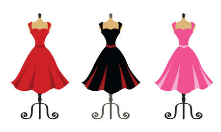 Beautiful Dresses on Mannequin Stands vector illustration
