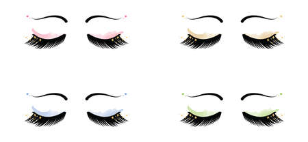 Sparkle Eyelashes with Eyebrows and Eyeshadow set vector illustration