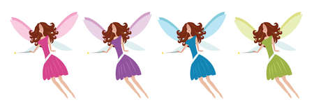 Flying Fairies set vector illustration Çizim