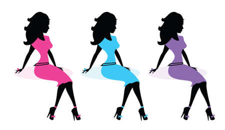 Fashion Diva Silhouette set vector illustration