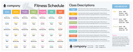 Daily and Weekly Schedule for Classes at a Fitness Club Gym  Setup for a Double-Sided Letter Size Paper at 8.5 x 11 Illustration