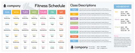 """Tages- und Wochenplan für Kurse in einem Fitnessclub-Fitnessstudio / Einrichtung für ein doppelseitiges Letter-Format mit 8,5 x 11"""" Vektorgrafik"""