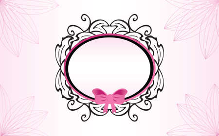 Feminine Baroque Frame with Pink Ribbon Çizim