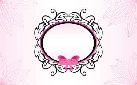 Feminine Baroque Frame with Pink Ribbon Illustration