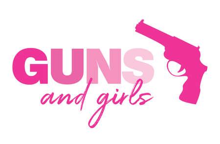 Guns and Girls poster design template Illustration