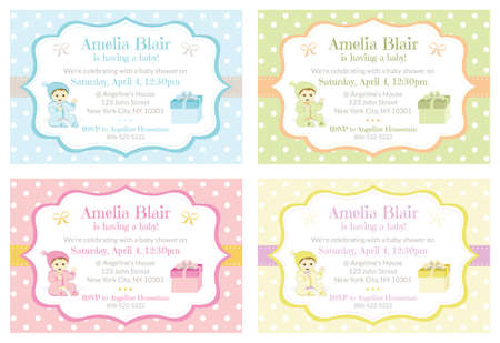 Polka Dot Baby Shower Invitations design template set
