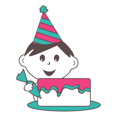 Child Piping Icing on a Birthday Cake with Party Hat