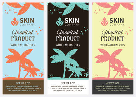 Vertical Tropical Palm Tree Product Labels
