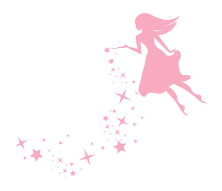Flying Pixie Fairy sprinklng sparkles with a magic wand