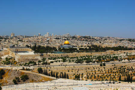 sepulcher: Holy City of Jerusalem  The magnificent panorama of the city  Dome of the Rock, Omar Mosque and the Dome of the Holy Sepulcher