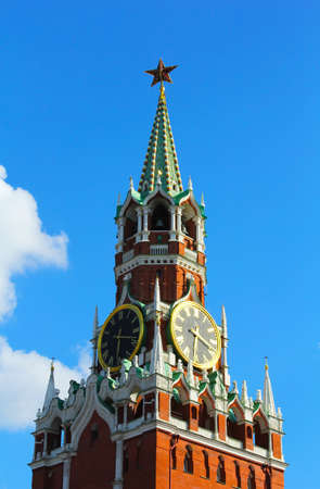 the Moscow Kremlin chiming clock of the Spasskaya Tower, Russia photo