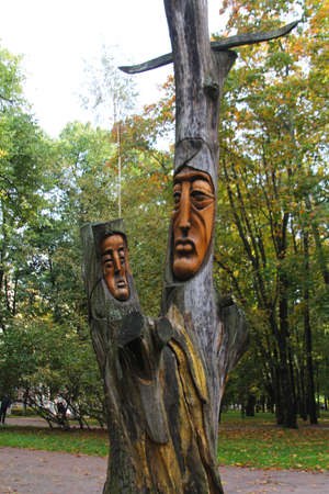 Vyborg, a statue carved into a tree trunk