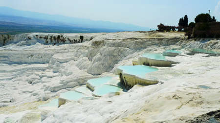 pamukkale: Pamukkale travertines near Denizli in Turkey, 2013 summer