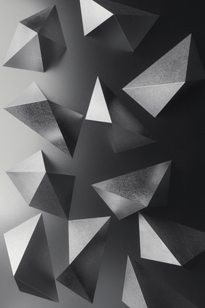 Composition with silvery geometric shapes, black and white abstract Stock Photo