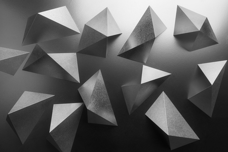 Abstract black and white, composition with silvery geometric shapes Stock Photo